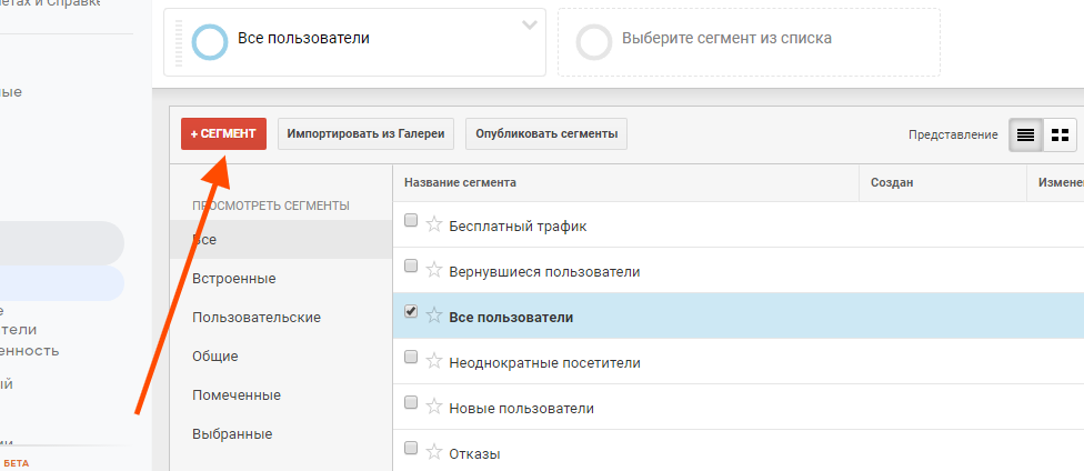 сегменты в google analitics настройка custom segment