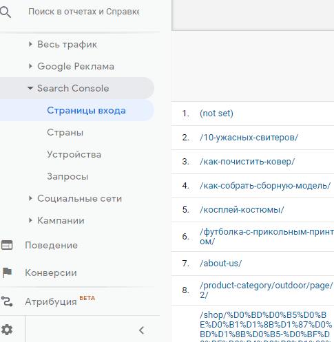 страницы входа и поисковые запросы Google Analytics