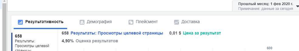 результаты в Facebook реклама статьи с 1 по 29 февраля